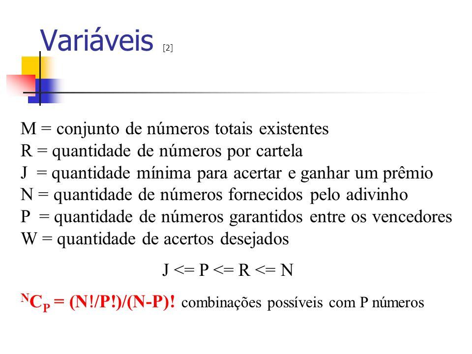 Variáveis [2] M = conjunto de números totais existentes